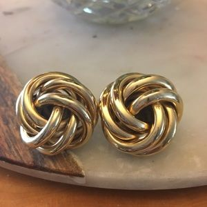 Jewelry - Gold love knot earrings large